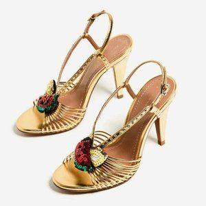 Zara gold sequin fruit strappy heel sandals 39